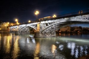 Seville, Trianna Bridge at night