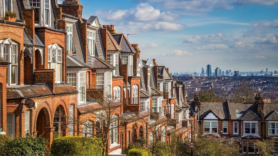 Row of houses in outer London