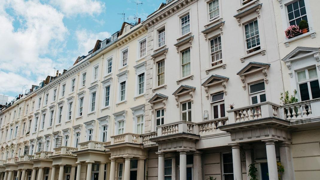 Row of London luxury apartments
